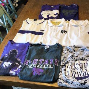 8 men's XL Kansas State University shirts.